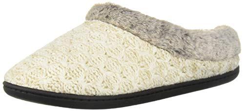 (Dearfoams DF Women's Sweater Knit Clog Slipper, Oatmeal, XL Medium US)