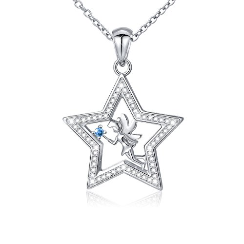 925 Sterling Silver Fairy with Angel Wings Five Point Star Pendant Necklace for Daughter (Teenage Angel Costume)