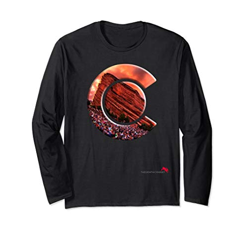 Red Rocks Amphitheater - Colorado State Flag Long Sleeve T-Shirt ()
