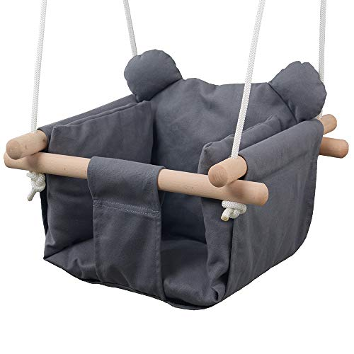 Jozeit Baby Kids Toddler Canvas Swing Seat Chair – with Cushion – Bear Ear Decor (Grey)