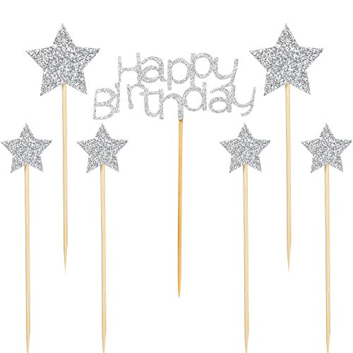 PALASASA Happy Birthday Cake Toppers and 6 pcs pentacle Silver Glitter Party Decorations