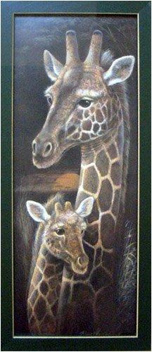 African Safari Wall Art (Framed Giraffe Baby African Safari Serengeti Picture)