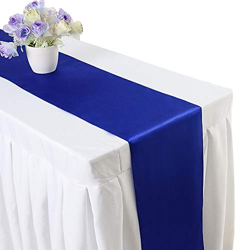 10PCS 12 x 108 Inch Satin Table Runner Wedding Banquet Decoration (#06 Royal ()