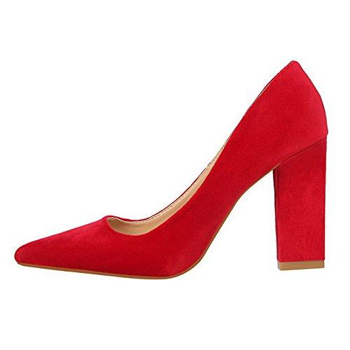 Chaussures Légeres Suédé Pointu Femme AgooLar Unie Couleur Rouge Tire 1OqFYax