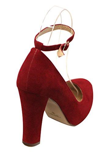 Chase & Chloe Tiana-1 Donna Tacco Tacco Grosso Cinturino Alla Caviglia Con Cinturino In Pelle Scamosciata, Scarpe Rosse