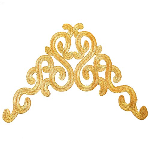 Monrocco 4 Pack Gold Flower Leaves Iron on Embroidered Appliques Patch for Clothing,Jeans Jacket,T-Shirt,Shoes,Caps
