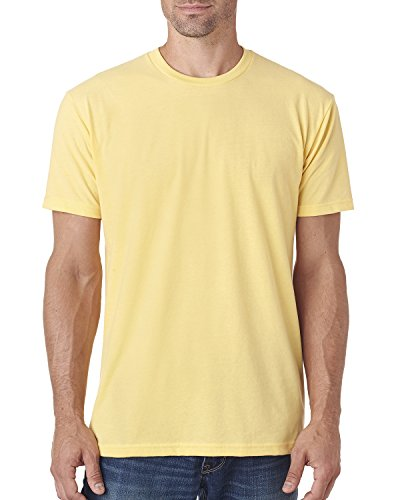 Next Level Apparel Men's Premium Fitted Sueded Crewneck T-Shirt, Banana Cream, Medium (Banana Level Next Cream)