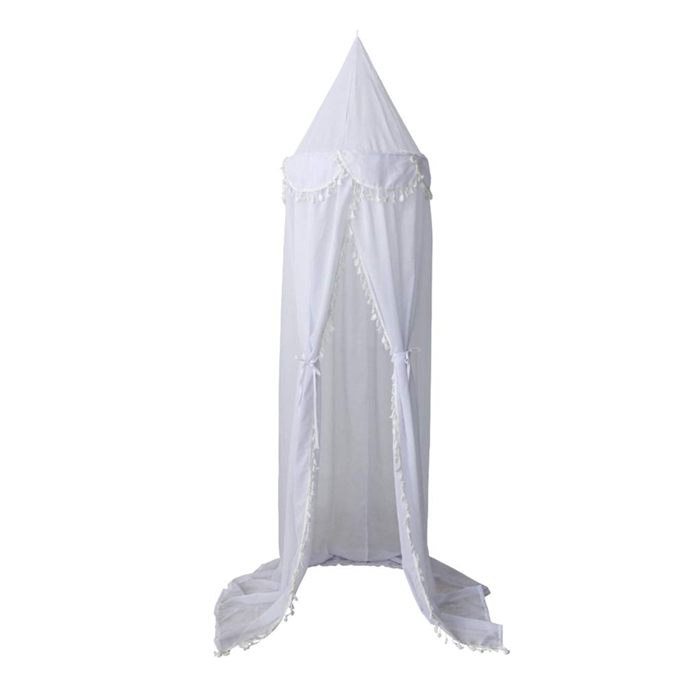 Afco 240cm Kids Room Baby Bed Curtain,Canopy Pointed Tassel Chiffon Hung Mosquito Net White