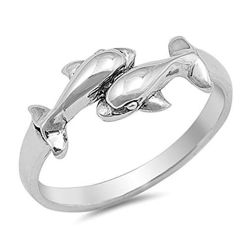 Two Dolphin Fashion Cute Whale Ring New .925 Sterling Silver Toe Band Size 8 (Two Silver Dolphin)