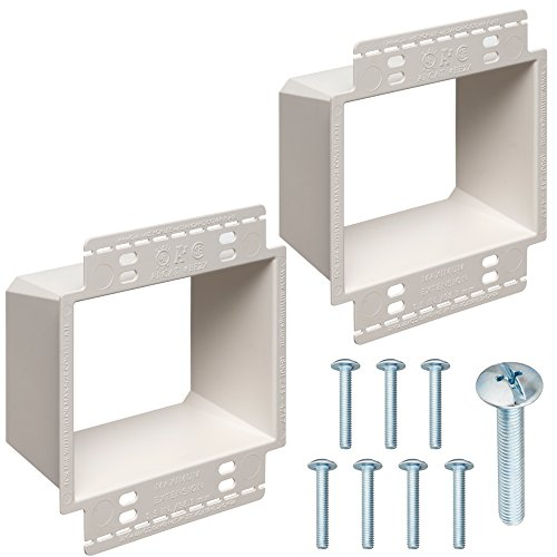 2-Gang Electrical Box Extender with Machine Screws, Kit by DoodleYolk Inc. 2-Pack Junction Box Extension, 6-32 Truss Head screws. Extra Large Arlington BE2X ring better secures wiring devices