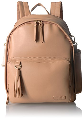 Skip Hop Diaper Bag Backpack, Greenwich Multi-Function Baby Travel Bag with Changing Pad and Stroller Straps, Vegan Leather, Caramel with Gold Trim