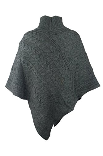 100% Irish Merino Ladies Aran Knit Poncho by West End Knitwear Charcoal,Small-Medium