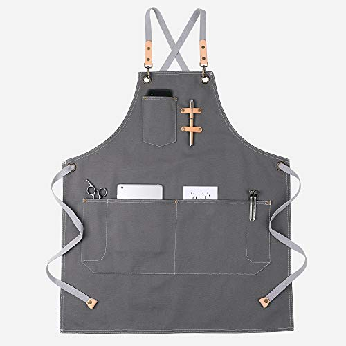 KINIVA Apron with Pockets for Men Women, Chef, Waiters, Artists, Work Aprons for Grill Kitchen Restaurant Bar Shop (Grey 44)
