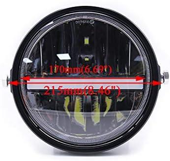 Proiettore moto universale faro faro 7 pollici 12V 55w LED faro anteriore per Harley Honda Yamaha Suzuki Cafe Racer Bobber black