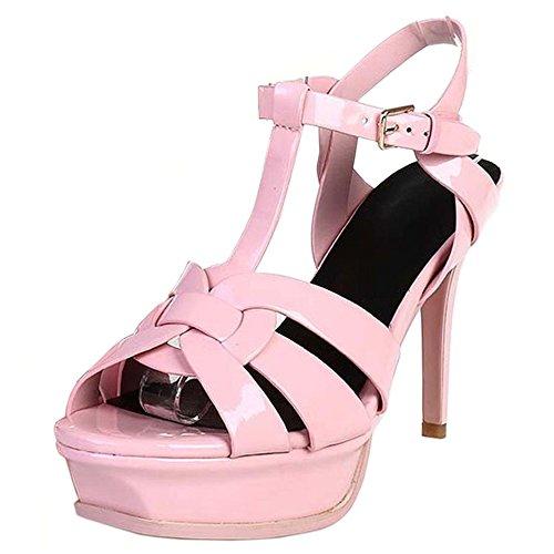 COOLCEPT Femmes Mode T-Strap Talon Aiguille Sandales Chic Plateforme Talon hauts Chaussures nude rose
