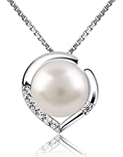 B.Catcher Silver Necklace Pearl Jewelry 925 Freshwater Pearl Heart Pendant Nekclaces