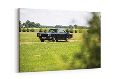 (1968 Dodge Coronet Super Bee Hardtop Coupe Cars Coupe Classic Black - Canvas Wall Art Gallery Wrapped 40