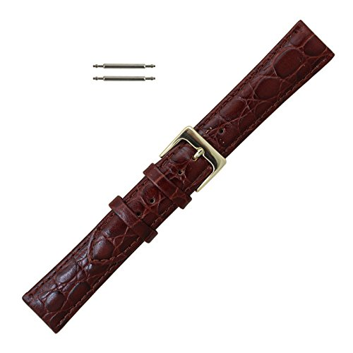 Croco Brown Grain (19mm Brown Leather Croco Grain Watchband Replacement - Long Length)