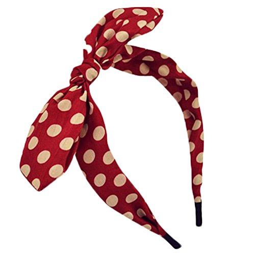 Qiabao Womens Red Polka Dot Bow Pin-Up Hair Band Headband (red) (Easy Pinup Hair)