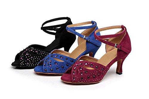 Kevin Fashion Kqj7074 Correa De Tobillo Para Mujer Gamuza Latina Salsa Tango Sandalias De Boda Borgoña