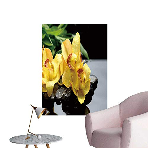 SeptSonne Vinyl Wall Stickers Still Life Yellow orchi Bamboo Leaf on Pebbles Perfectly Decorated,20