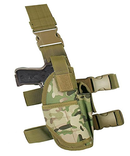 Terrernce Molle Tactical Pistol Thigh Gun Holster, Drop Leg Holster, Right Hand Adjustable Right Hand Drop Leg