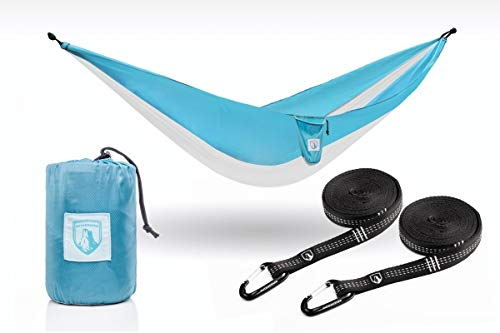 Outdoorser Single Double Hammocks Includes Tree Straps Carabiners – Strong Ripstop Nylon Triple Stitched Seams – Ultralight Camping, Backpacking, Hiking – Portable Parachute Hammock