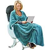 Portable Travel Blanket Airplane Office 4 in 1 Micro Mink Fleece Poncho Blanket Folable with Pocket and Built-in Bag - Great for Airplane Car Train Travel - Ultra Soft and Cozy, Steel Blue