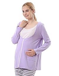 Chickle Women's Crew Neck Long Sleeve Nursing Maternity Pajamas Set