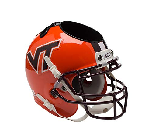 Schutt NCAA Virginia Tech Hokies Football Helmet Desk Caddy, Alt. 4 Orange w/Stripe by Schutt