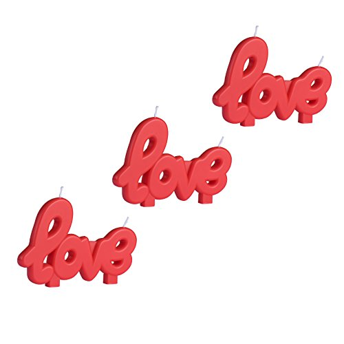 Fun Candles Red Love Candles , Set of 3 Birthday Candles Romantic Candles