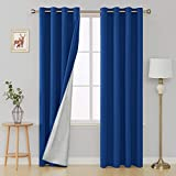Deconovo Grommet Room Darkening Thermal Insulated Blackout Curtains with Backside Silver for Nursery