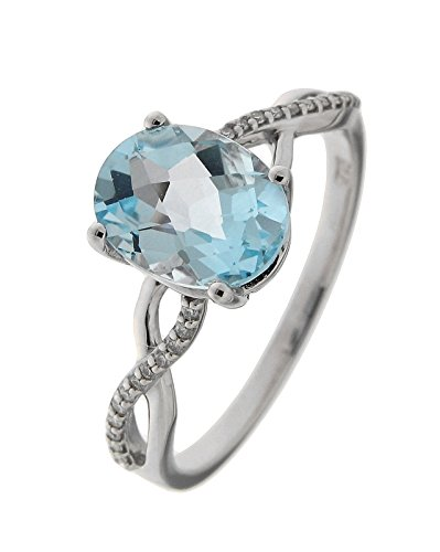 Bague Or 375 Topaze bleue traitee ref 42552