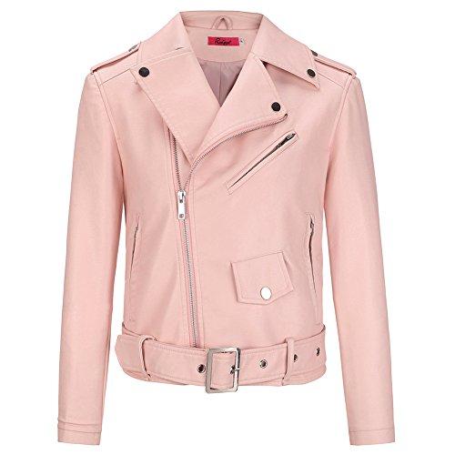 Pu Finta Moda Hippie Casual Inverno Corta Giacca Moto Zip Risvolto Pink Con Donna Classica Giacche Autunno Lunga Giubbino Manica Fit Vintage Pelle Slim AEpqwqU