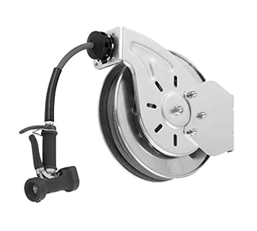 T&S Brass B-7132-05 Open Stainless Steel 3/8-Inch X 35-Feet Hose Reel with Front Trigger Water Gun by T&S Brass