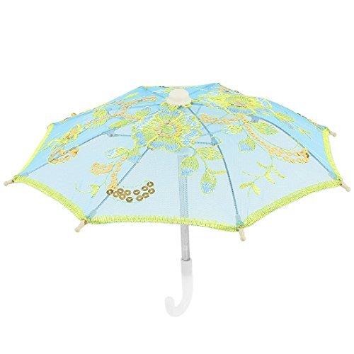 EbuyChX Home Decor Gold Tone Pagbuburda Flower Folding Mini Mesh Umbrella Blue ()