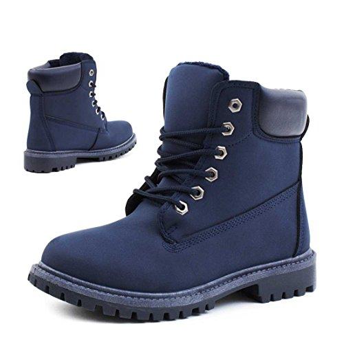 Trendige Unisex Damen Herren Boots Schnür Stiefel Stiefeletten Blau 41