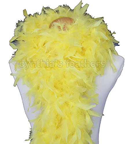 Cynthia's Feathers 80g Chandelle Feather Boa (Yellow) (Chandelle Boa)
