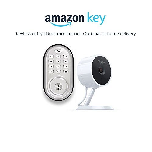 Yale Assure YRD216 Lock Push Button Deadbolt in Satin Nickel + Amazon Cloud Cam, works with Amazon Key