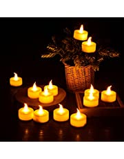 Tea Lights, [12 pcs] Diyife LED Tealights Battery Operated Candles, Flameless Fake Candles in Warm Yellow Perfect for Halloween, Christmas, Valentines Day, Wedding, Birthday Decoration