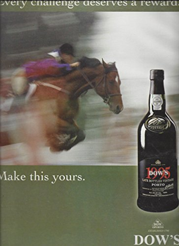 Dow Port (MAGAZINE AD For 2001 Dow's Vintage Port Wine: Equestrian Jumping Scene)