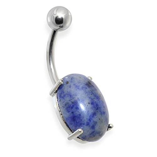 Surgical Steel Prong Set Oval Sodalite Semi Precious Stone Navel Ring