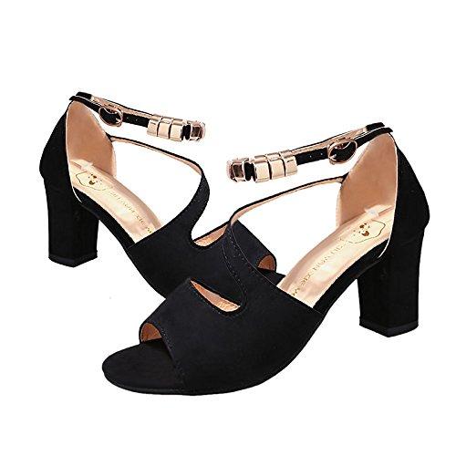 gris de para toe Cuero peep de Gladiador Nubuck Rosa de ZHZNVX talón Verde Verano Chunky Negro Casual Zapatos Pink mujer sandalias f6naw