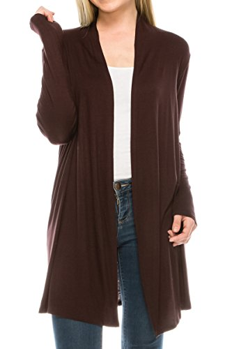 EttelLut Long Open Front Lightweight Cardigan Sweaters Regular and Plus Size Brown - Cardigan Wrap Oversized