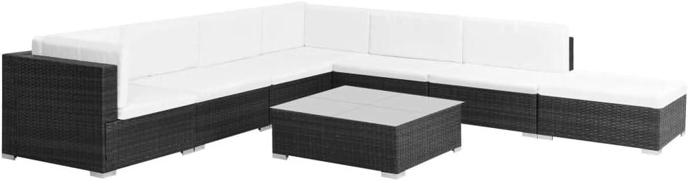 Namotu vidaXL 8-TLG. Garten-Lounge-Set mit Auflagen Poly Rattan Schwarz