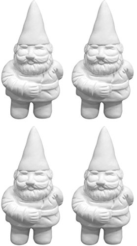 Ceramic Garden Gnomes (George The Itty Bitty Garden Gnome - Set of 4 - Paint Your Own Gnome-y Ceramic Keepsake)