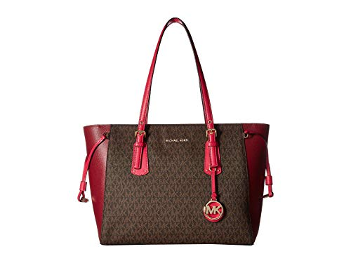 (Michael Kors Voyager Leather Medium Monogram Printed Multifunction Tote Handbag in Brown Pink)