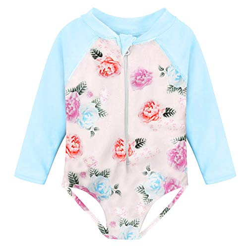 (Fanient Baby Girls Bathing Suit Flower Pattern One Piece Long Sleeve Swimwear Rash Guard Swimsuit 1-2T )