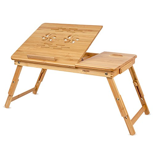 HOMFA Bamboo Laptop Desk Adjustable Portable Breakfast Serving Bed Tray with Tilting Top Drawer (Tray For Bed Breakfast)