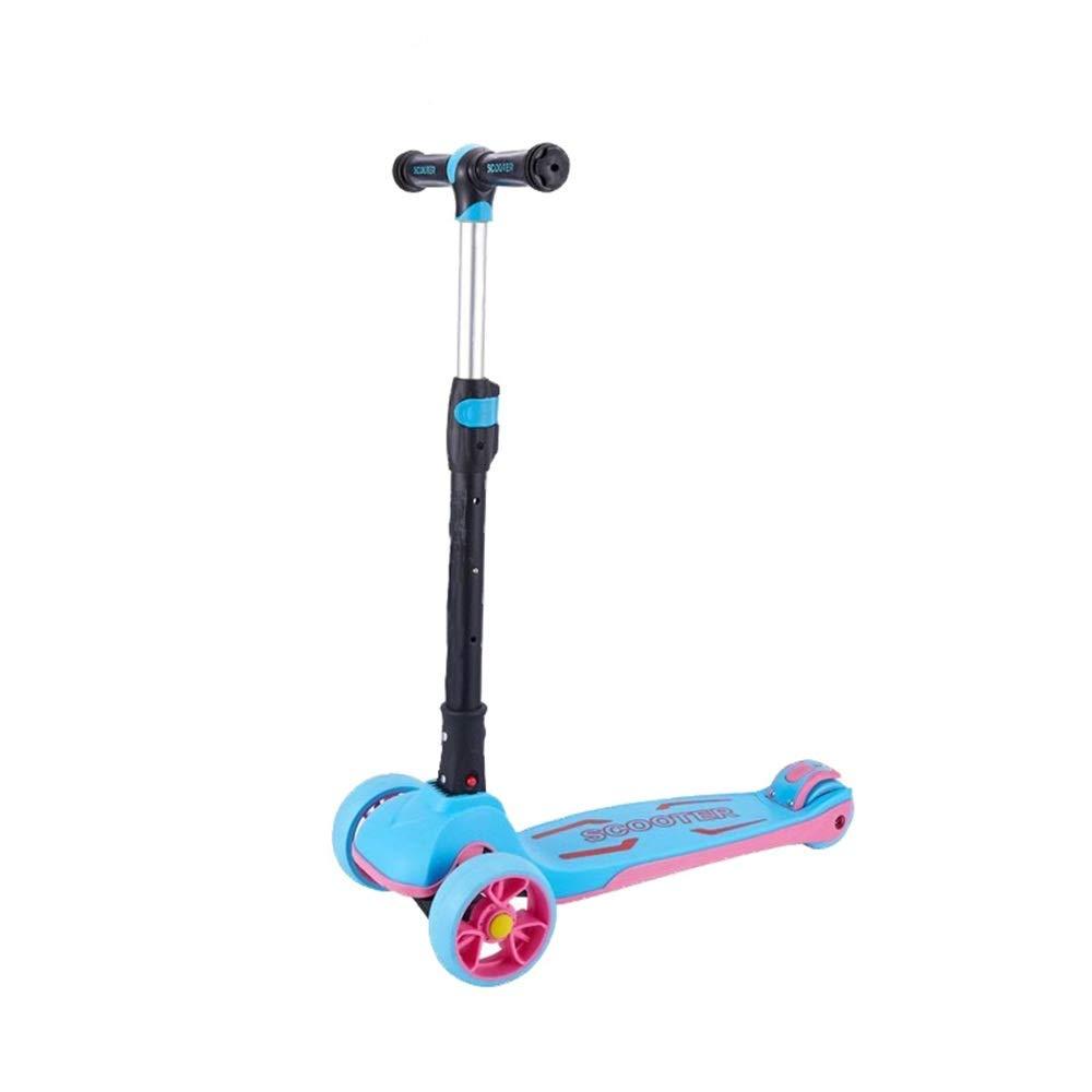 キックスクーター 子供のためのスクーター3つの車輪のTバー調節可能な高さのハンドルのグライダーの車輪が付いているキックスクーター5から14歳までの子供のための広いデッキ 持ち運びが簡単 (色 : Two-color plate powder) B07Q8F81K3 Two-color board blue Two-color board blue